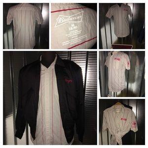 Men woman Budweiser beer button down shirt Croptop